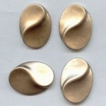 38x28mm. GOLD GLITTER TEXTURED OVAL CABOCHONS - Lot of 36