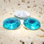 Aqua Jewel - 18x13mm. Oval Faceted Gem Jewels - Lots of 144