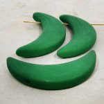 GREEN MATTE 50MM LONG 15MM WIDE MOON PENDANTS - Lot of 12