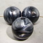 GREY MARBLE 28MM ROUND SMOOTH BEADS - Lot of 12