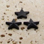 Jet Opaque Faceted - 15mm. Star Domed Cabochons - Lots of 144