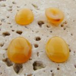 14X10mm. HONEY AMBER SHINY MARBLE OVAL CABOCHONS - Lot of 48