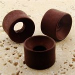 BROWN MATTE 23X16MM LARGE HOLE DONUT BEADS - Lot of 12