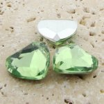 Peridot Jewel - 18mm. Heart Faceted Gem Jewels - Lots of 144
