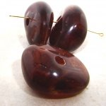 BROWN MARBLE 45X36MM NUGGET BEADS - Lot of 12