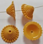 OCKER YELLOW 8x18mm GROOVED TRIANGLE SWIRL BEAD CAPS - Lot of 12