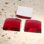 Ruby Jewel Faceted - 25mm. Square Domed Cabochons - Lots of 72