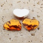 Madeira Topaz Jewel Faceted - 18mm Heart Cabochons - Lots of 144