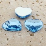Light Sapphire Faceted - 18mm. Heart Cabochons - Lots of 144