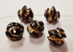BLACK 9mm. GOLD CARVED ROCK NUGGET BEADS - Lots of 12