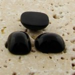 Jet Opaque - 15x11.5mm. Rectangle Domed Cabochons - Lots of 144