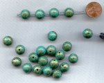 TURQUOISE GREEN GOLD SPLASH 12mm. ROUND BEADS - Lots of 12