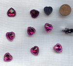 Fuchsia Jewel Faceted Framed - 15mm. Heart Cabochons - Lot of 72