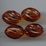 DK SMOKE TOPAZ 18x13mm. GROOVED OVAL TWIST BEADS - Lot of 12