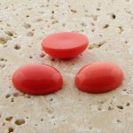 Coral Opaque - 12x10mm. Oval Domed Cabochons - Lot of 100