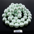 MINT GREEN 14MM ROUND SMOOTH JAPANESE PEARLS - Lot of 56