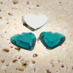 Emerald Jewel Faceted - 15mm. Heart Cabochons - Lots of 144