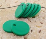 GREEN 19MM ROUND FLAT 1-HOLE PENDANTS - Lot of 12