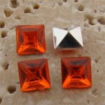 Orange Jewel - 6x6mm. Square Faceted Gem Jewels - Lots of 144