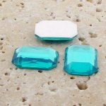 Aqua Jewel Faceted - 40x30mm. Octagon Cabochons - Lots of 12