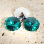 Teal Jewel - 8mm. Round Rivoli Rhinestone Jewels - Lots of 144