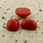 Red Opaque - 15x11.5mm. Rectangle Domed Cabochons - Lots of 144