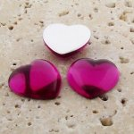 Fuchsia Jewel Smooth - 18mm. Heart Domed Cabochons - Lots of 144