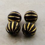 BLACK GOLD HIGHLIGHTED 10MM ROUND MELON FLUTED BEADS - Lot of 12