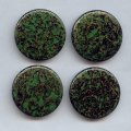 37mm.GREEN GOLD WATERSPOT ROUND CABOCHONS - Lot of 36