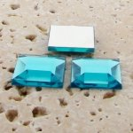 Aqua Jewel Faceted - 12mm. Square Domed Cabochons - Lots of 144