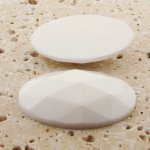 White Opaque Multi Faceted - 40x30mm Oval Cabochons - Lots of 12