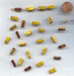 YELLOW BROWN GOLD DRIZZLE 13x6mm. RECTANGLE BEADS - Lots of 12