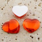 Orange Jewel Smooth - 18mm. Heart Domed Cabochons - Lots of 144