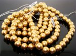 GOLD 12MM SMOOTH ROUND JAPANESE PEARLS - Lot of 63