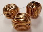 ANTIQUE GOLD - 16x12mm. GROOVED OVAL MELON BEADS - Lots of 12