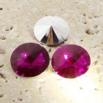 Fuchsia - 12mm. Round Rivoli Rhinestone Jewels - Lots of 144