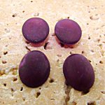 18x13mm. PURPLE MATTE MARBLE OVAL CABOCHONS - Lot of 48