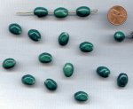 GREEN SPECKLE - 14x11mm. TWISTED OVAL BEADS - Lots of 12