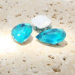 Aqua Jewel - 25x18mm. Pear Faceted Gem Jewels - Lots of 72