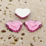 Light Pink Jewel Faceted - 15mm. Heart Cabochons - Lots of 144