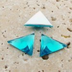 Aqua Faceted - 18x18mm. Triangle Cabochons - Lots of 144