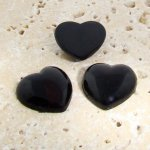 Jet Opaque Smooth - 18mm. Heart Domed Cabochons - Lots of 144