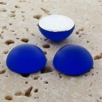 Sapphire Matte Frosted - 11mm Round Domed Cabochons - Lot of 144