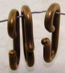 Antique Gold - 34x17mm. Oval Plastic Hooks - Lots of 12