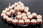 BRONZE 16MM ROUND SMOOTH JAPANESE PEARLS - Lot of 48