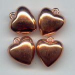 16MM COPPER COATED HEART SMOOTH BEADS - Lot of 12