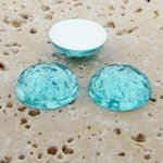 Aqua Jewel Baroque Domed - 18mm. Cabochons - Lots of 144
