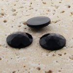 Jet Opaque Multi Faceted - 20mm Round Cabochons - Lots of 72