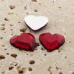 Ruby Jewel Faceted - 15mm. Heart Domed Cabochons - Lots of 144