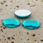 Aqua Jewel Faceted - 25x18mm. Oval Domed Cabochons - Lots of 72